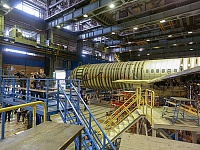 Media representatives had an opportunity to see the MC-21, undergone strength tests at TsAGI