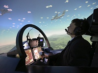 Flight simulator dome PS-10M (the screen is 8 meter diameter) gives the impression of the maneuverable aircraft realistic control